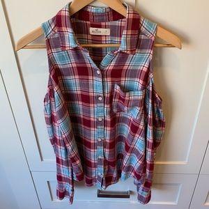 Hollister Cold Shoulder Flannel Shirt